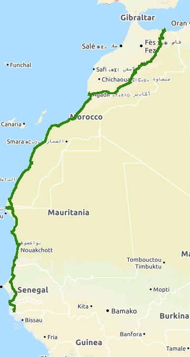 Map Of Spain Gibraltar And Morocco.Cycling Spain West Africa 1 The Malaga Melilla Ferry And On To Morocco